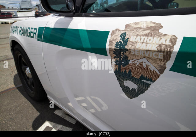 US national park service u.s. park ranger vehicle Boston USA - Stock Image