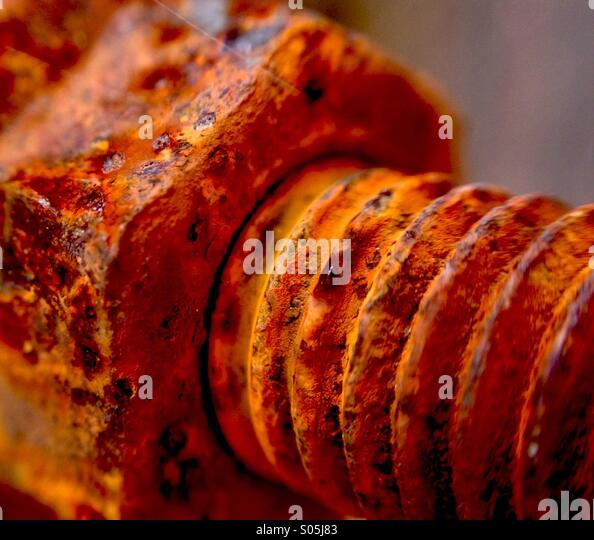 Close up of a rusting bolt - Stock Image