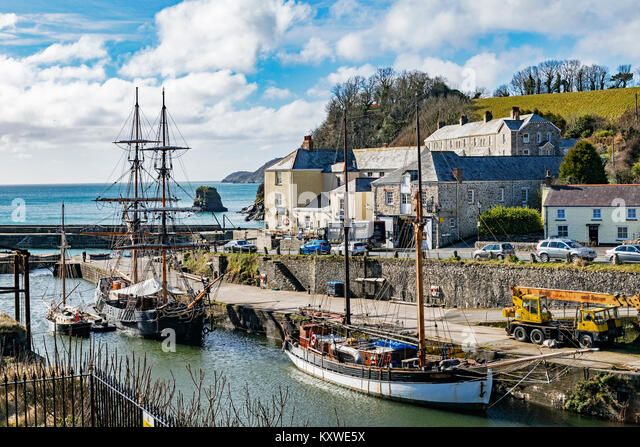 tall ships in the historic port of charlestown, cornwall, england, britain, uk. - Stock Image