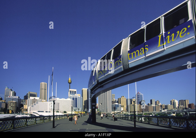 Austalia sydney Darling harbor sky train - Stock Image