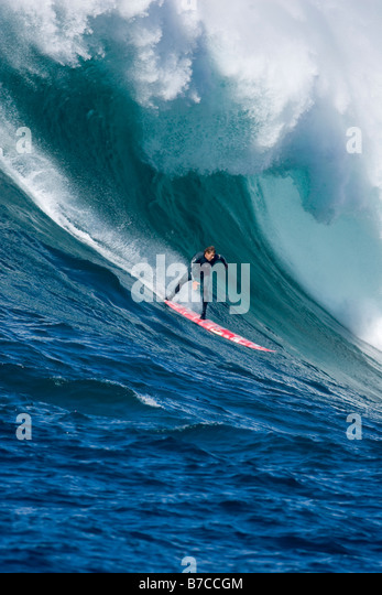 Jamie Mitchell surfing at Todos Santos Island in Mexico - Stock Image