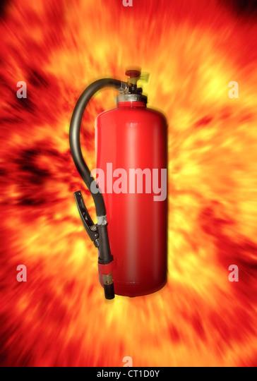Feuerlöscher mit Flammen - Explosion - Stock Image