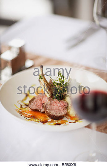 Gourmet entree in restaurant - Stock Image