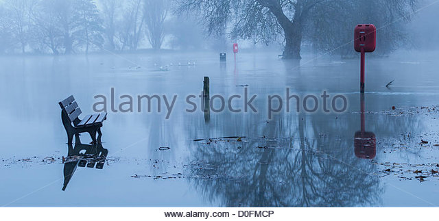 The Recreation Ground at Godmanchester in Cambridgeshire, England, is flooded on the 24 November 2012 as the River - Stock Image
