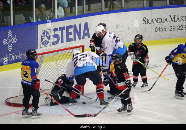 NHL stars Daniel and Henrik Sedin playing a charity game with children in Sweden 2006 - Stock Image