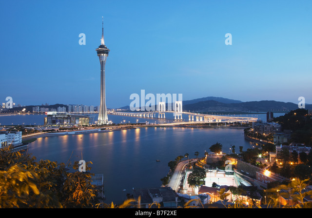 Macau Tower At Dusk, Macau - Stock Image