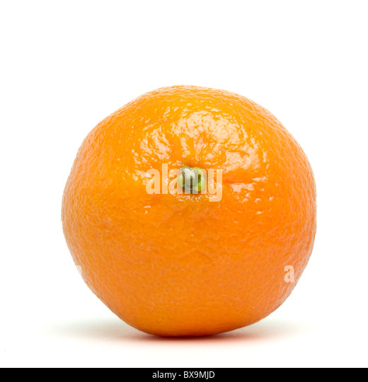 Clementine from low perspective isolated on white. - Stock Image