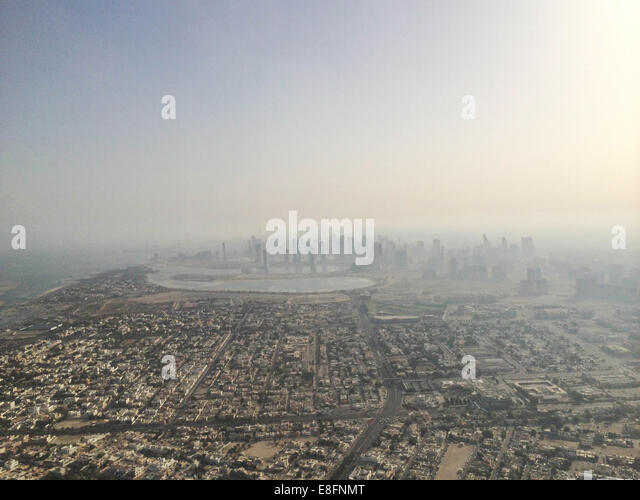United Arab Emirates, Dubai and surrounding area from above - Stock Image