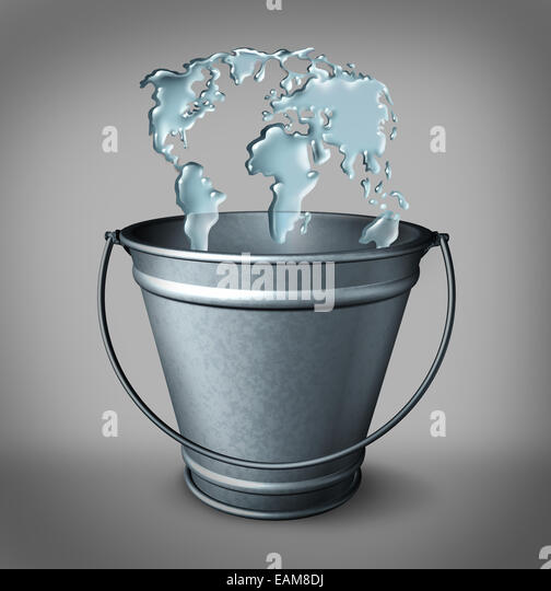 Global water concept as a group of water splash drops entering a metal bucket shaped as a world map as a symbol - Stock-Bilder