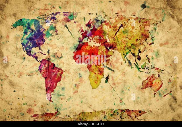 Vintage world map, retro style - Stock Image