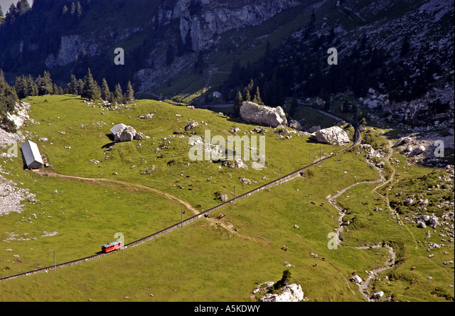 Lucerne luzern Switzerland Mount Pilatus scenic aerial oveview cog railway in transit - Stock Image