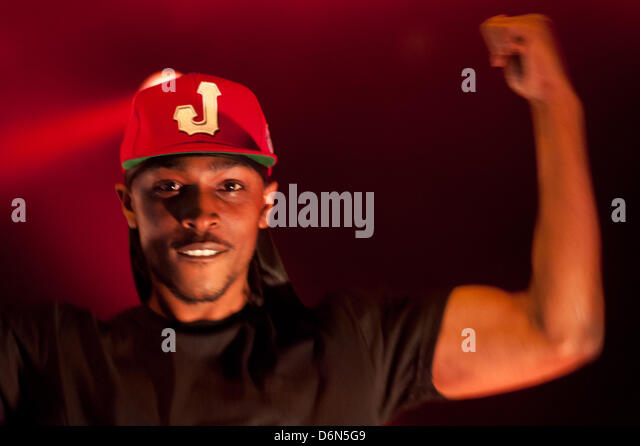 London,UK. 20th April, 2013. JME performs live during the Boy Better Know gig at The Forum in London - Stock Image
