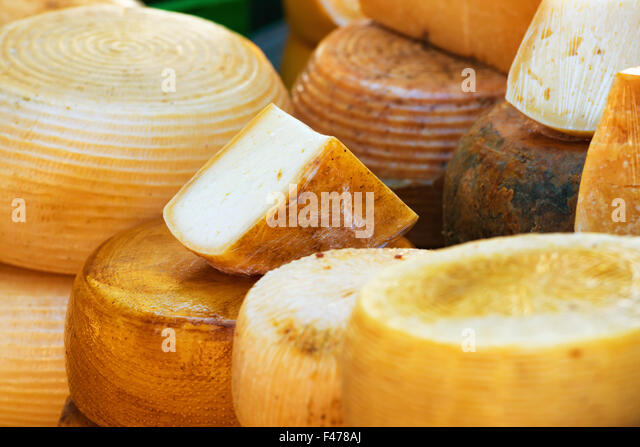 Different sorts of italian cheese - Stock Image