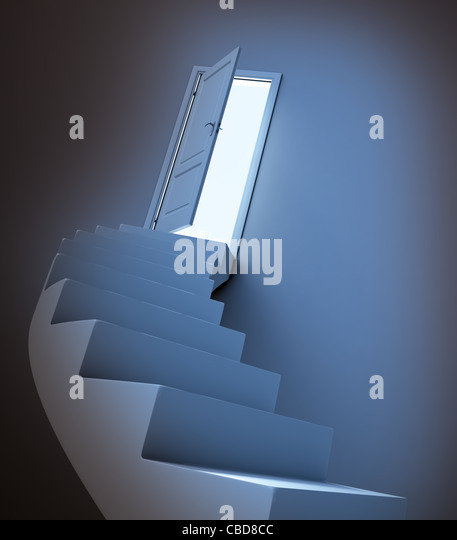 Abstract stairway leading to light - Stock Image
