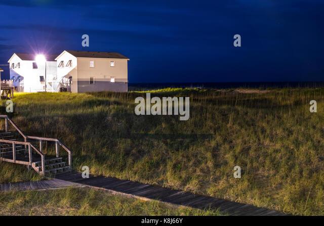 North Carolina NC Outer Banks Cape Hatteras National Seashore Kill Devil Hills beach night sky sand dune - Stock Image