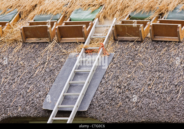 Traditional roof thatching being renewed on a cottage in North Devon, England - Stock Image