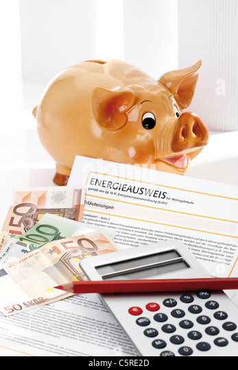 Piggy bank, energy pass, pocket calculator and euro notes, close-up - Stock Image