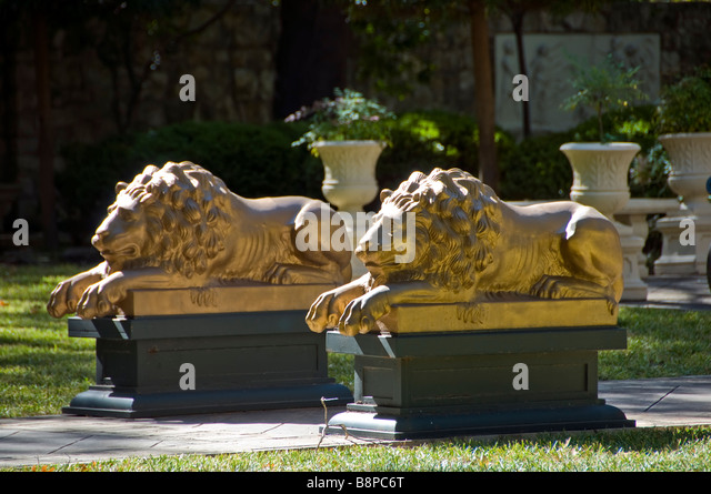 lion lawn ornaments Steves Homestead museum is a historic house built 1876 San Antonio Texas tx. tourist attraction - Stock Image
