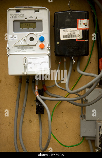 Communication Cable In Electric Meters : Electric meter box stock photos