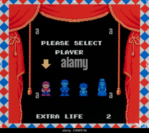 Super Mario video game - player select screen - Stock Image