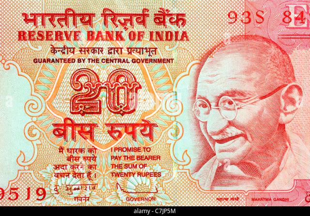 India 20 Twenty Rupee Bank Note. - Stock-Bilder
