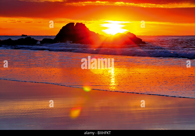 Portugal, Algarve: Sundown at a beach of nature park Costa Vicentina - Stock Image