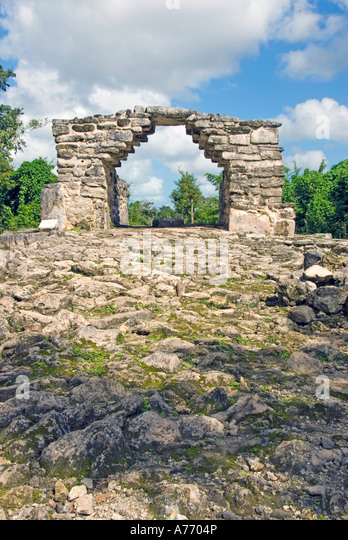 Mexico Cozumel San Gervasio Mayan ruins korbel Arch Structure - Stock Image