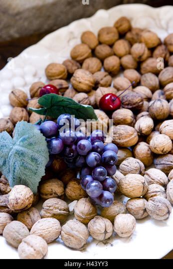 Plate, fruits, walnuts, Stilllife, - Stock Image