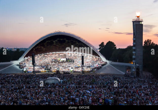 Tallinn, Estonia - July 05, 2014: Crowd at the Estonian XXVI national song festival at Tallinna Lauluvaljak in Tallinn, - Stock Image