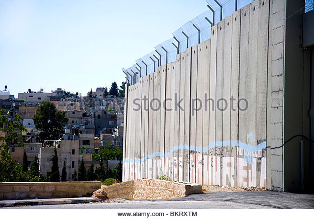 wall that surrounds Bethlehem,Palestine,Middle East,Asia - Stock Image