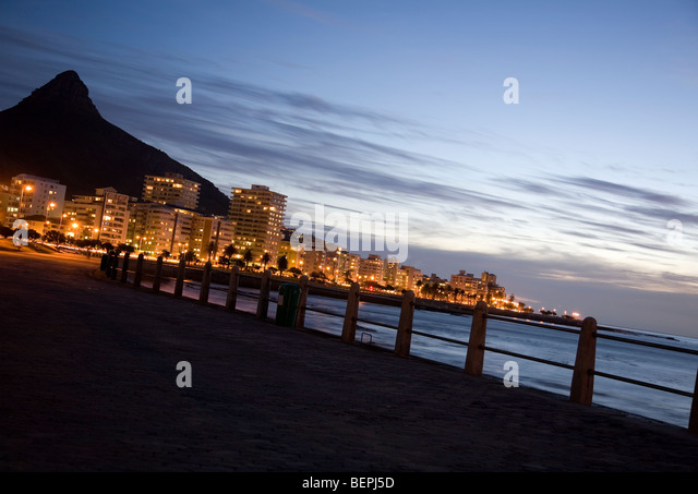 Sea Point Promenade in Evening - Cape Town - Stock Image