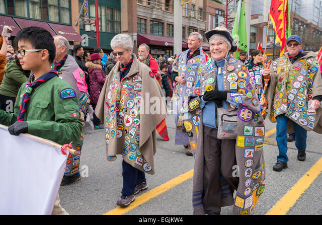 42nd Baden Powell Guild, march in New Year Parade, Vancouver, British Columbia, Canada - Stock Image