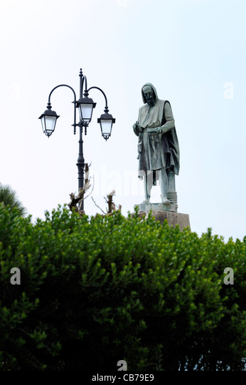 A statue of Amalfi's great inventor, Flavio Gioia, who invented the maritime compass in 1302. Many believe that - Stock Image