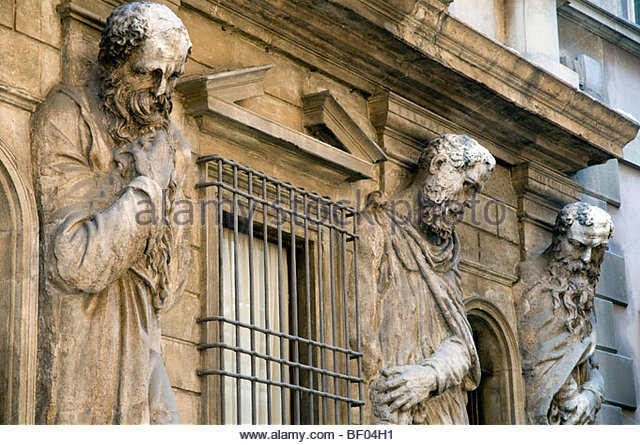Art nouveau statues, Milan, Italy - Stock Image