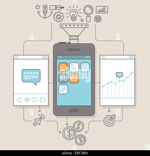 App promotion and marketing concept in flat linear style - illustration for service to get reviews for mobile apps - Stock-Bilder