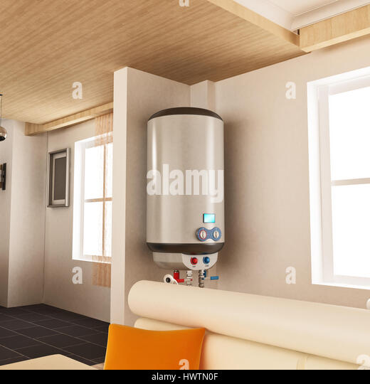 Water heater hanging on the wall. 3D illustration. - Stock Image