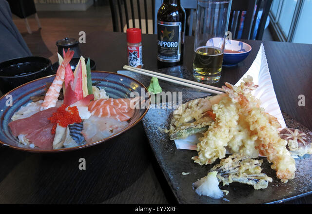Meal in a Japanese Restaurant, Leeds, England, UK- Sashimi Tempora Miso Soup - Stock Image
