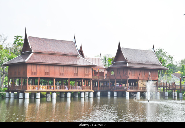 Thai style house for relaxation on water - Stock-Bilder