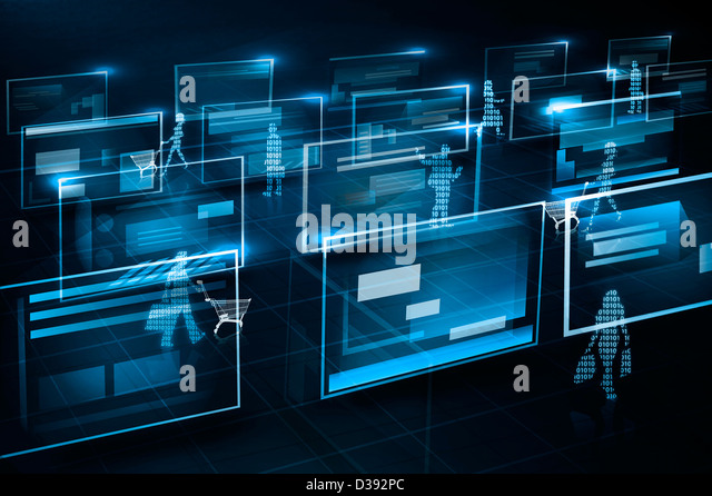 Illustrative representation of e-commerce - Stock Image