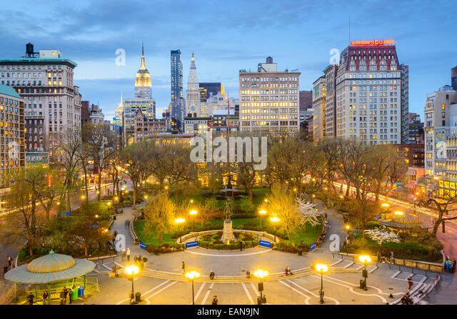 New York City, USA cityscape at Union Square in Manhattan. - Stock Image
