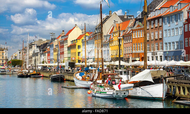 Copenhagen, Denmark - the boat in Nyhavn Canal - Stock Image
