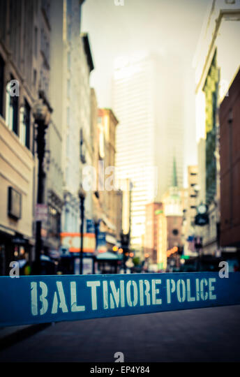 Retro Style Photo Of A Police Riot Barrier In Baltimore - Stock Image
