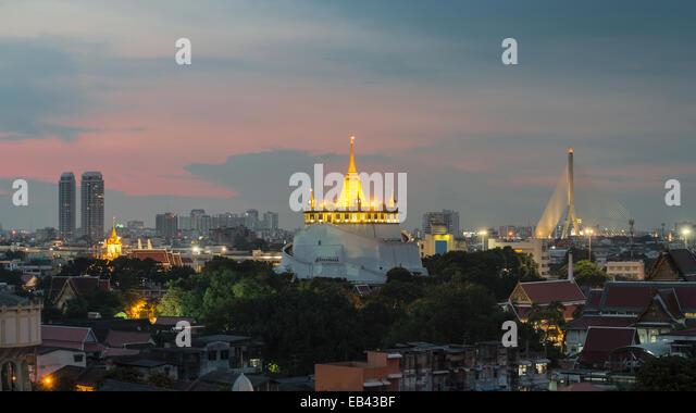 The Golden Mount at Wat Saket, Travel Landmark of Bangkok THAILAND - Stock Image