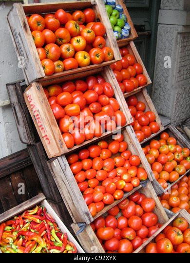 Montevideo, Montevideo, Uruguay Display of red tomatoes - Stock Image