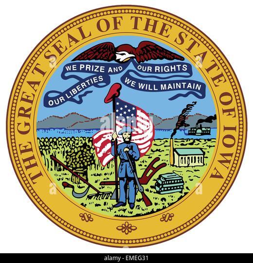Iowa State Seal - Stock Image