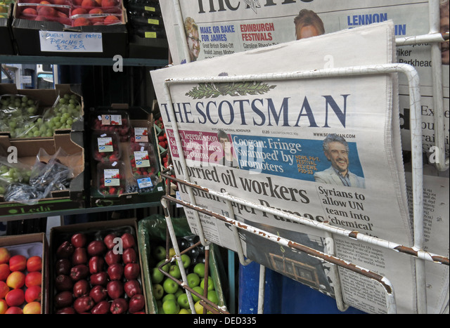 The Scotsman newspaper on sale in Edinburgh Scotland - Stock Image