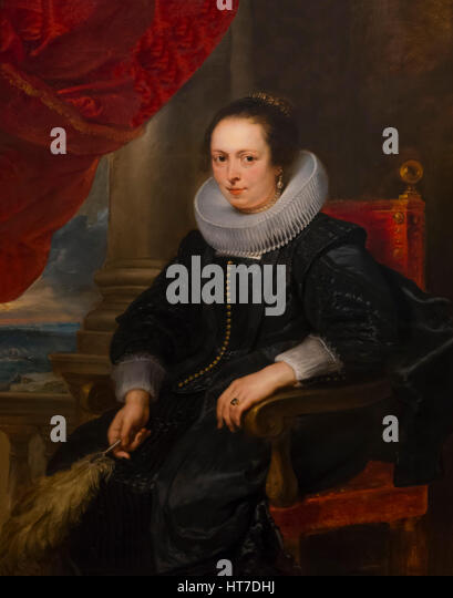 Portrait of a Woman, possibly Clara Fourment,  by Peter Paul Rubens, circa 1630, Royal Art Gallery, Mauritshuis - Stock Image