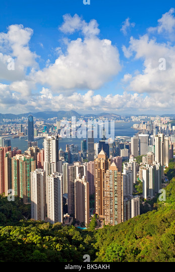 View from Victoria Peak, city skyline and Victoria Harbour, Hong Kong, China, Asia - Stock Image