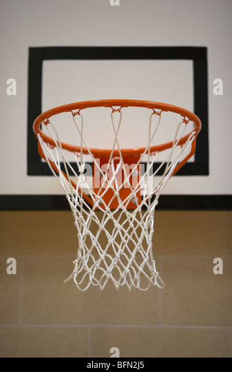 net in a school gym sports hall selective focus - Stock Image