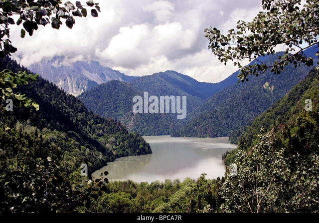 Lake Ritsa in Caucasus - Stock Image